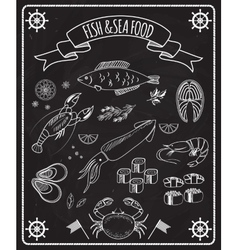 Fish and seafood blackboard elements vector