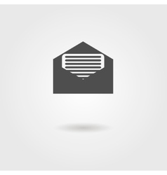 Open envelope black icon with shadow vector