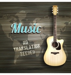 Guitar wooden backround vector