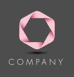 Pink hexagon ribbon logo vector