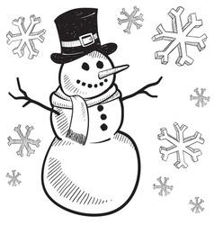 Doodle snowman snow winter vector