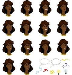 Set of cartoon afroamerican female faces with vector