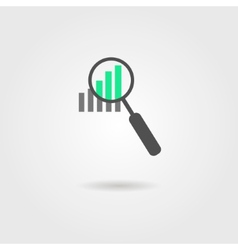 Magnifier and graph icon with shadow vector