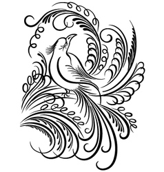 Bird calligraphy vector