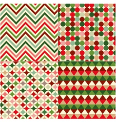 Seamless geometric pattern with christmas colors vector