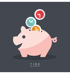 Time is money piggy bank vector