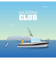 Sea marlin fishing on the boat vector