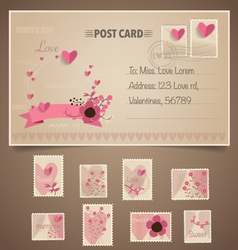 Vintage postcard background and postage stamps - vector
