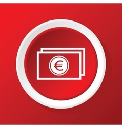 Euro bill icon on red vector