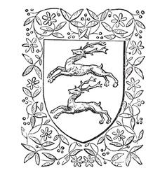 Deer heraldry vintage engraving vector