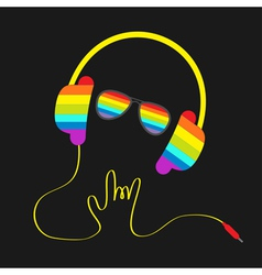 Rainbow headphones cord hand and glasses vector