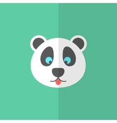 Cute panda on green background vector