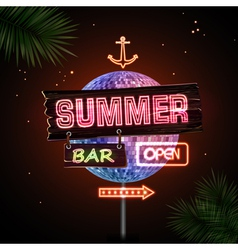 Neon sign summer beach vector
