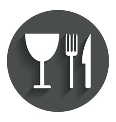 Eat sign icon knife fork and wineglass vector