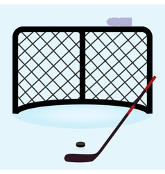 Ice hockey net gate with hockey stick and puck vector