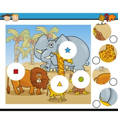 Match pieces game cartoon vector