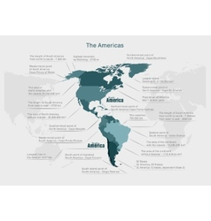 Infographics continent america blue and gray vector