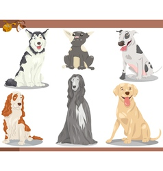 Dog breeds cartoon set vector