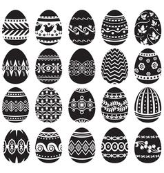 Easter egg set black vector