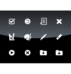 Application interface icons on black background vector