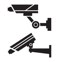 Silhouettes of cctv cameras vector