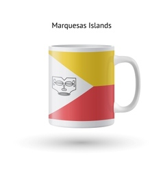 Marquesas islands flag souvenir mug on white vector