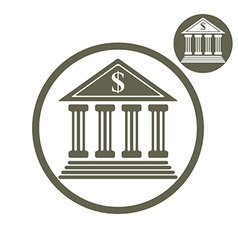 Bank building simple single color icon isolated on vector