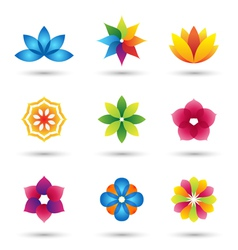 Abstract flower logo and icons set vector