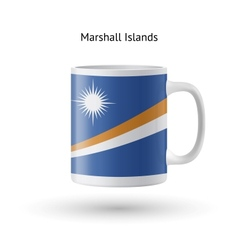 Marshall islands flag souvenir mug on white vector
