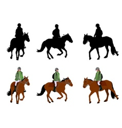 Riding horses vector