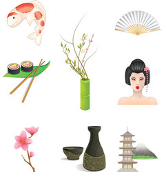 Japan icons vector