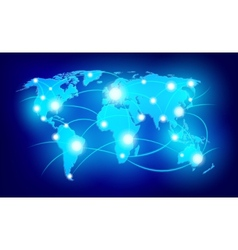 World map with glowing points vector