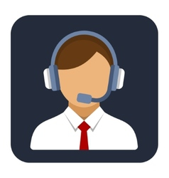 Call center operator or manager with headset flat vector