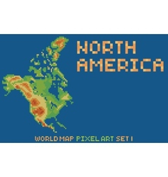 Pixel art style map of north america contains vector