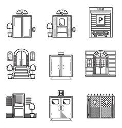 Black contour icons for door vector