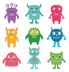 Friendly monsters set vector