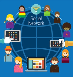Mobile  laptop tablet with people social network vector