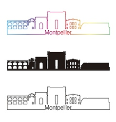 Montpellier skyline linear style with rainbow vector