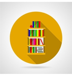 Flat icon for bookshelf with colorful books vector