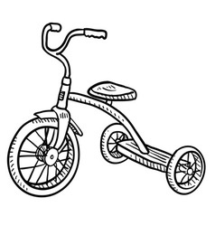 Doodle tricycle vector