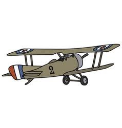 Vintage military biplane vector