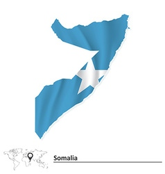 Map of somalia with flag vector