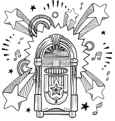 Doodle pop jukebox music vector