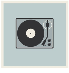 Retro background turntable vinyl record player vector