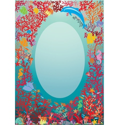 Oval frame with coral reef and marine life - under vector