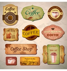 Set of vintage decorative coffee labels vector