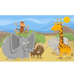 Safari animals group cartoon vector