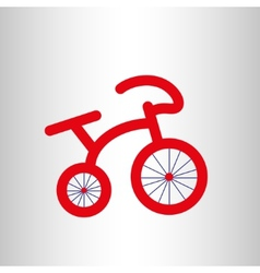 Red retro bicycle icon vector