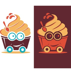 Smiling frozen yogurt on wheels vector