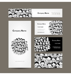 Business cards collection people crowd design vector